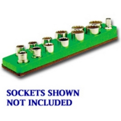 Mechanics Time Saver 718 3/8 in. Drive Magnetic Neon Green Socket Holder   5.5-22mm