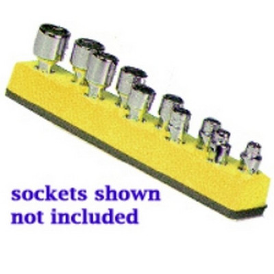Mechanics Time Saver 483 1/4 in. Drive Universal Magnetic Yellow Socket Holder   5-14mm