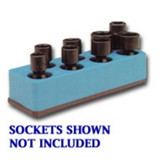 Mechanics Time Saver 880 3/8 in. Drive Universal Neon Blue 8 Hole Impact Socket Holder