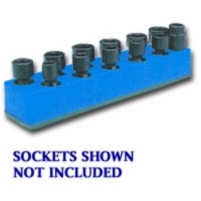 Mechanics Time Saver 980 3/8 in. Drive Universal Neon Blue 11 Hole Impact Socket Holder 9-19mm