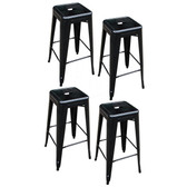 AmeriHome BS030BSET 4 Piece 30 Inch Metal Bar Stool Set - Black