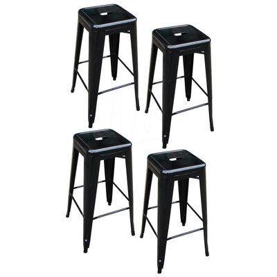 AmeriHome BS030BSET 4 Piece 30 Inch Metal Bar Stool Set - Black