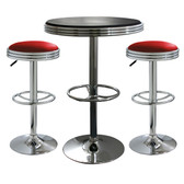 AmeriHome BSSET16 3 Piece Soda Fountain Style Bar Set - Red/Black