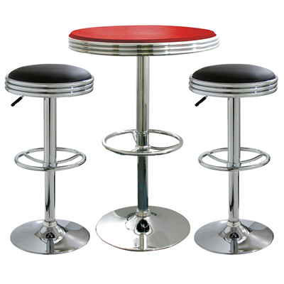 AmeriHome BSSET17 3 Piece Soda Fountain Style Bar Set - Black/Red