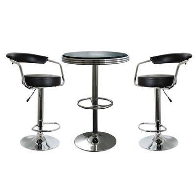 AmeriHome BSSET7 3 Piece Soda Fountain Style Bar Set - Black