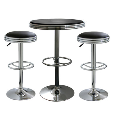 AmeriHome BSSET23 3 Piece Soda Fountain Style Bar Set - Black