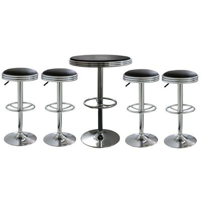 AmeriHome BSSET6 5 Piece Soda Fountain Style Bar Set - Black