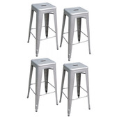 AmeriHome BS030SET 4 Piece 30 Inch Metal Bar Stool Set - Silver