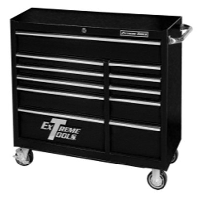 """Extreme Tools PWS4111RCTXBK Extreme 41"""" 11 Drawer Roller Cabinet - Textured Black"""