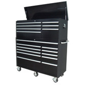 "Extreme Tools RXE5618ComboBK 56"" 7 Drawer Top Chest, 11 Drawer Roller Cabinet Combo - Black"