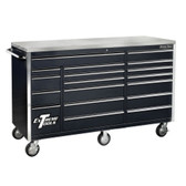 "Extreme Tools EX7218RCBK 72"" 18 Drawer Triple Bank Roller Cabinet - Black"