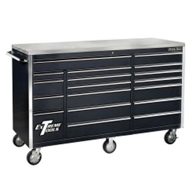 "Extreme Tools EX7218RCBK 72"" 18 Drawer Triple Bank Roller Cabinet - Black"