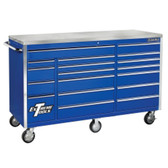 "Extreme Tools EX7218RCBL 72"" 18 Drawer Triple Bank Roller Cabinet - Blue"