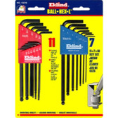 Eklind Tool Company 13218 18 Piece Combination SAE and Metric Long Ball End Hex-L Hex Key Set