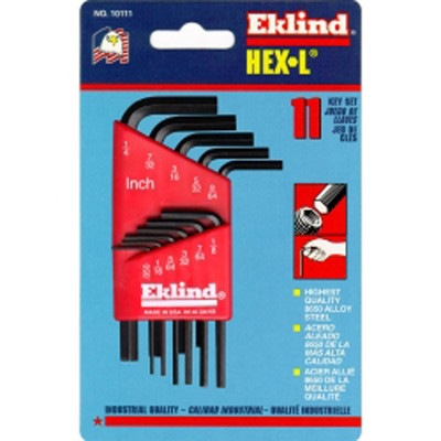 Eklind Tool Company 10111 11 Piece SAE Short Hex-L Hex Key Set