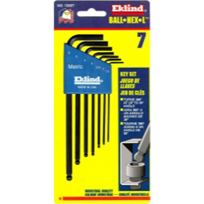Eklind Tool Company 13607 7 Piece Metric Long Ball End Hex-L Hex Key Set