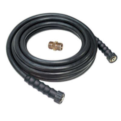 "Apache 10085573 3/8"" X 50' Black Rubber Pressure Washer Hose Coupled: 3/8"" F M22 x F M22 with M M22 Adapter"