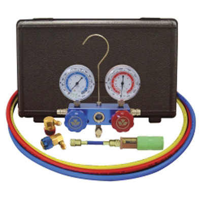 "Mastercool 89660-UV 134A Aluminum Manifold Gauge Set with 60"" Hoses and Standard Couplers"