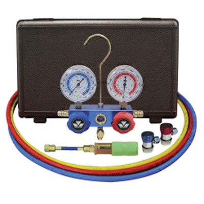 "Mastercool 89661-UV 134A Aluminum Manifold Gauge Set with 60"" Hoses and Manual Couplers"
