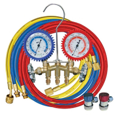 "Mastercool 84772-G Brass R134A 2 Way Manifold Gauge Set with 72"" Hoses"