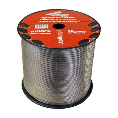 Audiopipe CABLE161000 Speaker Wire 16 Ga 1000' Clear