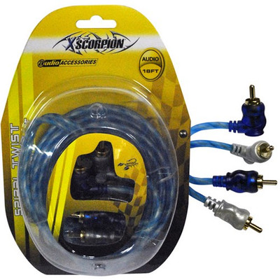 Xscorpion STP18 RCA Cable 18' Right Angle Blue/Platinum Twisted