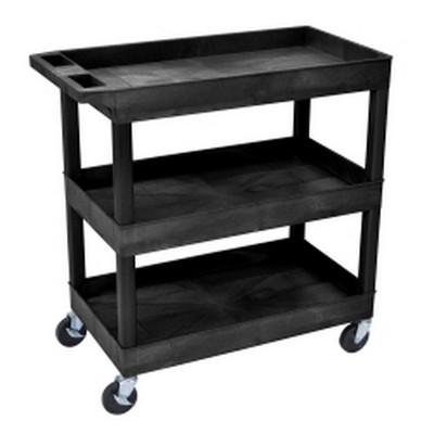 Luxor EC111-B Three Shelf Utility Cart
