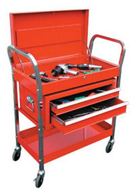 ATD Tools 7033 2-Shelf Service Cart with 2-Drawer Chest - Red