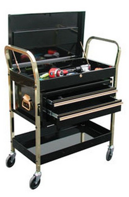ATD Tools 7034 2-Shelf Service Cart with Locking Lid and 2-Drawer Chest - Black