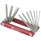 "Titan Tools 12700 Folding Ball End Hex Key Wrench Set 1/16"" to 1/4"""