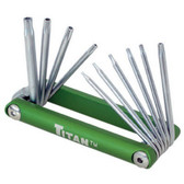 Titan Tools 12710 Folding Tamper Resistant Torx Bit Set T6 to T30