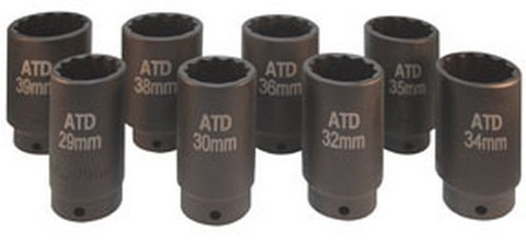 "ATD Tools 8628 1/2"" Dr. 12-point Fwd Axle Nut Socket Set, 8pc."