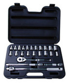 "ATD Tools 1360 1/2"" Dr. 6-Point SAE/Metric Socket Set, 24 pc."