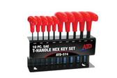 ATD Tools 574 T-Handle Hex Key Set, SAE, 10pc