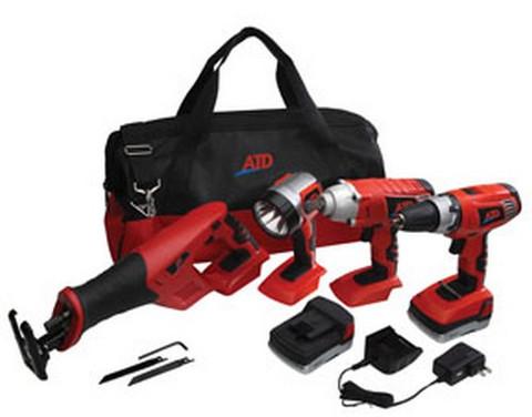 ATD Tools 10528 18V Cordless 4-Tool Combo Kit