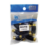 Xscorpion BCFB Rca Coupler;Female;Black;Bullzaudio; 10/Bag