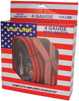 Qpower 4GAUGE *Usa Link* 4G. Amp Wiring Kit W/Rca Cables; Qpower