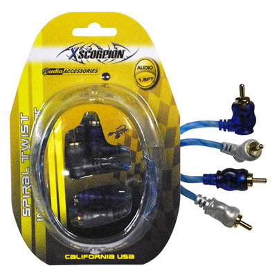 Xscorpion STP1.5 Rca Cable 1.5' Right Angle Blue/Platinum Twisted