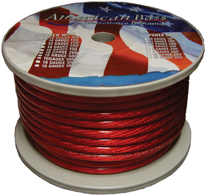 American Bass 8GR Wire 8 Ga. Red 100 Ft Roll*Ab666Rd**P8Gr* *Ab665Rd*