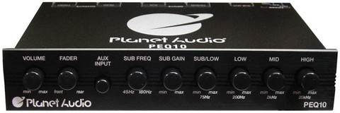 Planet Audio PEQ10 4 Band Equalizer Aux Input Master Volume Control Half Din Size Chassis