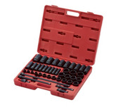 "Sunex 2568 43 Pc. Complete SAE 1/2"" Impact Socket Set 3/8"" to 1-1/2"""