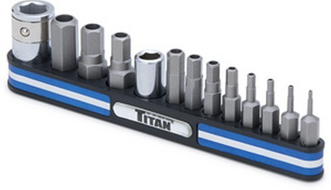 Titan Tools 16136 Tamper Resistant Metric Hex Bit Set On Magnetic Rail