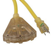 Bayco SL-740L 25'Triple-Tap Lighted End Extension Cord 14/3 Gauge 15