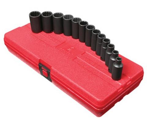 "Sunex Tools 3338 3/8"" Dr. 13Pc 12Pt Metric Semi-Deep Impact Socket Set"