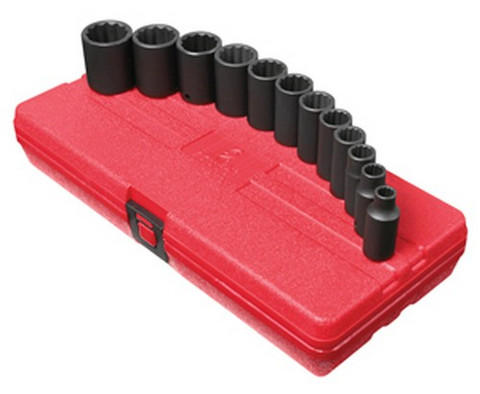 "Sunex Tools 3337 3/8"" Dr. 12Pt Sae Semi-Deep Impact Socket Set"