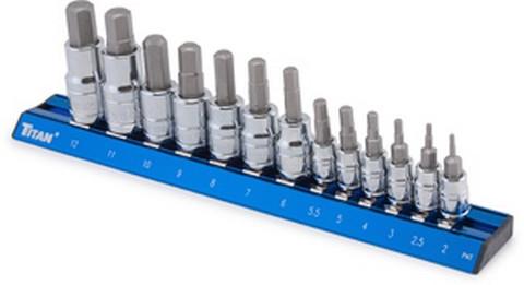 Titan Tools 16124 13 Piece Metric Hex Bit Socket Set