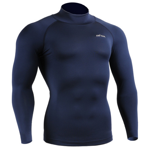 emfraa skin tight under base layer mock neck shirt navy