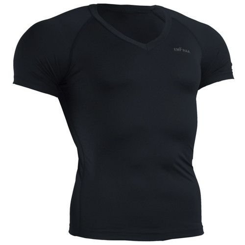 skin tight v-neck base layer Black shirt emfraa