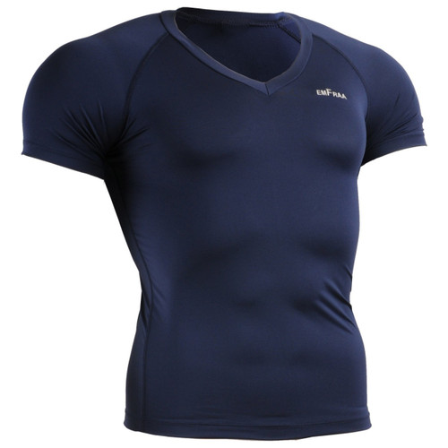 skin tight v-neck base layer Navy shirt emfraa