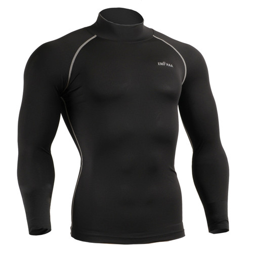 emfraa mock neck compression shirt black